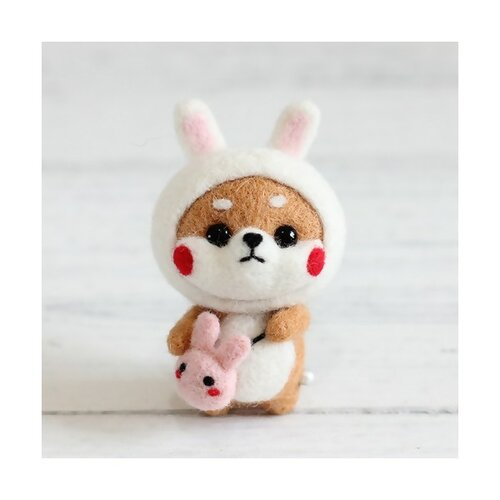 S11671814 kit de feutrage shiba inu chien japonais kawai 68mm diy animal aiguille laine à feutrer