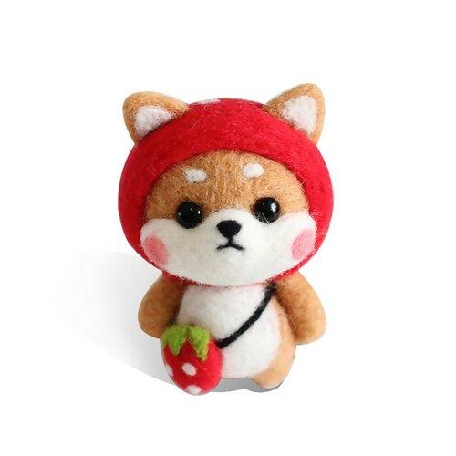 S11671816 kit de feutrage chien japonais kawai shiba inu 68mm diy animal aiguille laine à feutrer