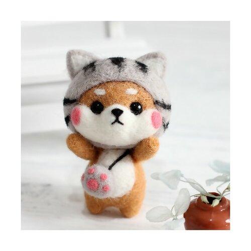 S11671815 kit de feutrage chien japonais kawai shiba inu 68mm diy animal aiguille laine à feutrer