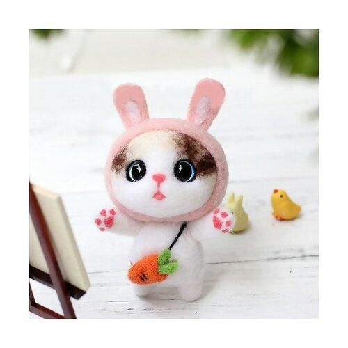 S11671823 kit de feutrage lapin japonais kawai 75mm diy animal aiguille laine à feutrer