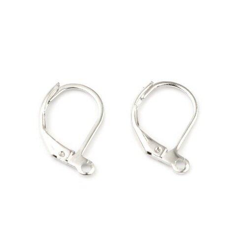 S11666850 pax 20 pieces boucle d'oreille dormeuses simple avec attache cuivre coloris argent platine