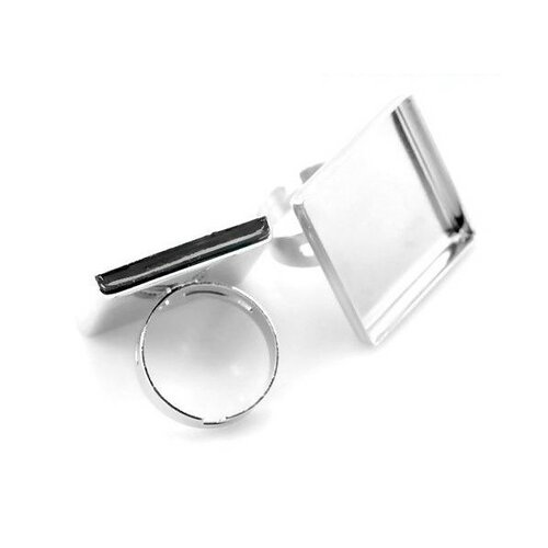 Ps1121493 pax 5 supports de bague carre 25mm bord épais cuivre couleur argent platine