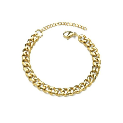 S11655591 pax 1 bracelet 18 cm maille 3mm en acier inoxydable 304 coloris doré