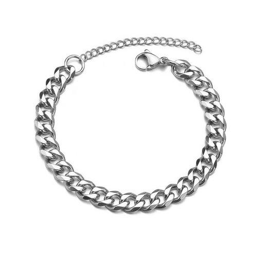 S11655590 pax 1 bracelet gourmette 18 cm maille 7mm en acier inoxydable 304 coloris argent platine