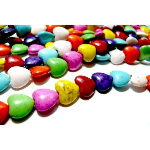 H1111704 lot 1 fil d'environ 45 perles coeurs 10mm howlite, turquoise reconstituées multicolores