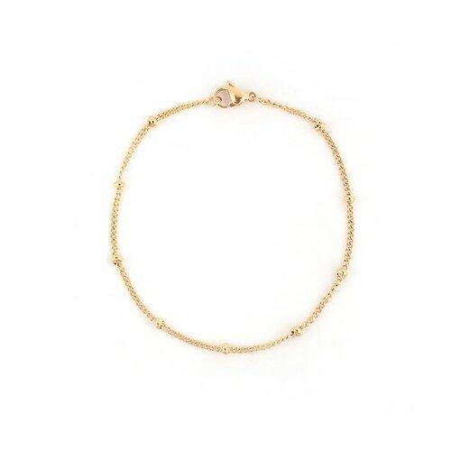 S1199584 pax 1 bracelet 19,8 cm maille et bille 3mm en acier inoxydable 304 coloris doré