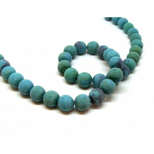 Ht106194 lot 1 fil d'environ 45 perles rondes teintée chrysocolle effet givre 8 mm pour création de bijoux