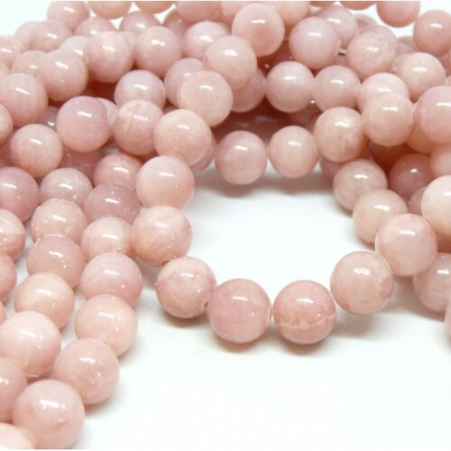 H6xs22bis lot 1 fil d'environ 95 perles jade mashan rose pale 4mm