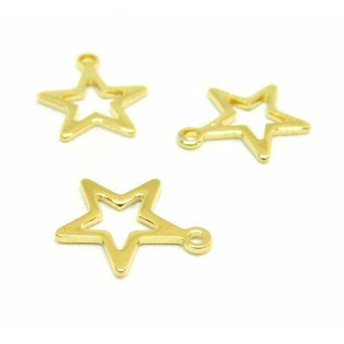 Hf16213g pax 10 pendentifs etoile 12.5 mm en acier inoxydable coloris doré pour bijoux raffinés