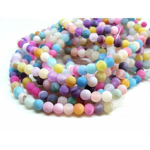 P09805b lot 1 fil d' environ 48 perles rondes 8mm agate craquelé effet givre multicolore coloris 08