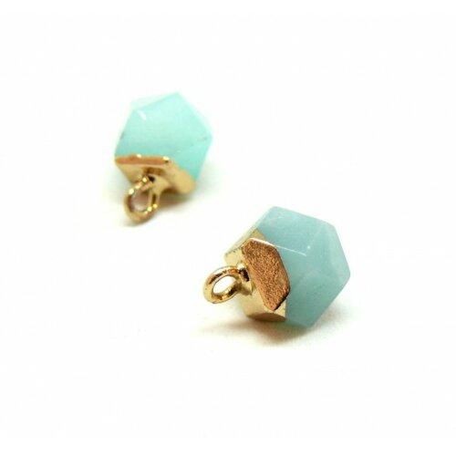 S110208890 pax 1 pendentif petit polygone en pierre bleu clair avec socle doré