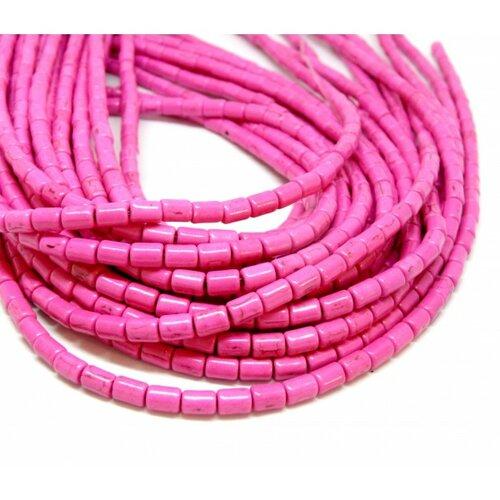 Hg12046 lot 1 fil d'environ 64 tubes turquoise reconstituées 4 par 6mm rose coloris 01
