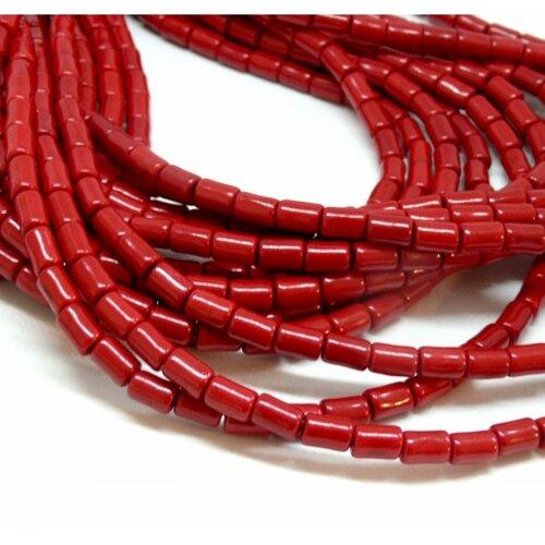 Hg12046 lot 1 fil d'environ 64 tubes turquoise reconstituées 4 par 6mm rouge coloris 07