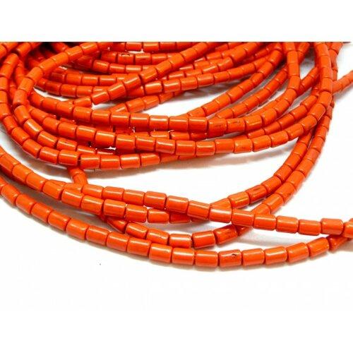 Hg12046 lot 1 fil d'environ 64 tubes turquoise reconstituées 4 par 6mm orange coloris 06