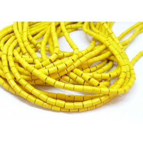 Hg12046 lot 1 fil d'environ 64 tubes turquoise reconstituées 4 par 6mm jaune coloris 09