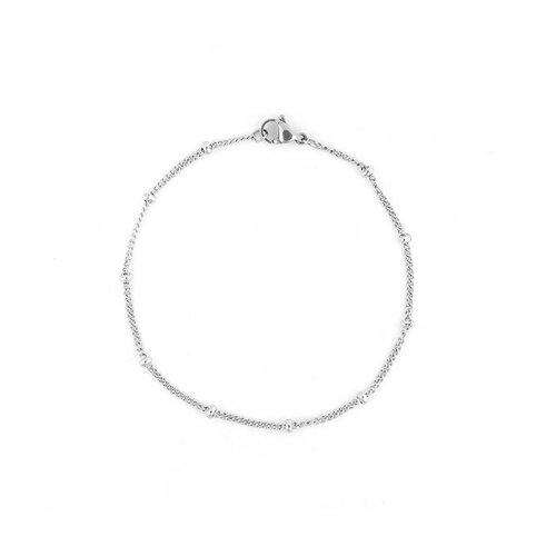 S1199581 pax 1 bracelet 20,5 cm avec bille 3mm en acier inoxydable 304 coloris argent platine