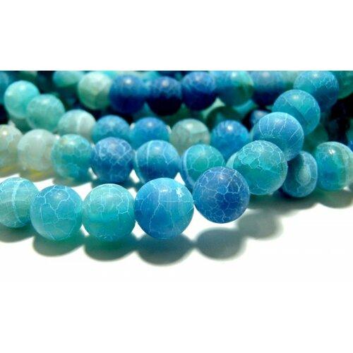 Hg6589 1 fil d'environ 64 perles 6mm agate craquelé effet givre bleu intense coloris 14