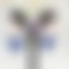 Boucles d'oreille, oreilles percées  bleu capri bleu jeans et fuscshia tiisées perles rocaille et swarovski