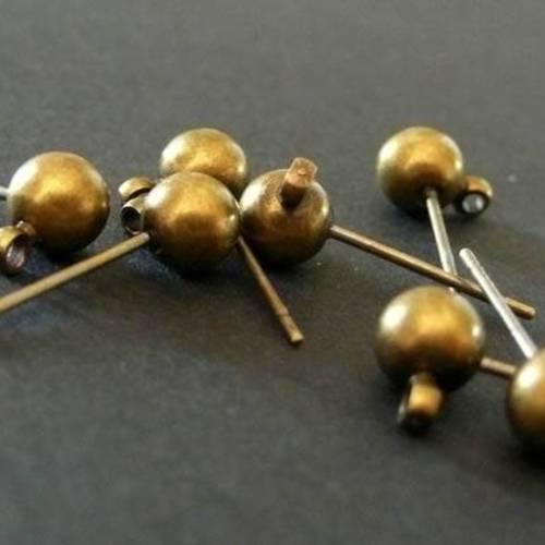 Lot de 10,20,50,100 clous dorés demi boule pour création boucle d/'oreille
