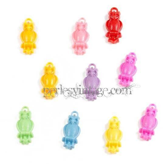 Lot de 10 Pendentifs hiboux en plastique jaune, Rose, Rouge, Bleu, Vert