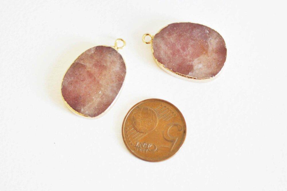 Pendentif ovale quartz fraise, Pendentif bijoux, pendentif pierre,pierre naturelle, pendentif rose,quartz naturelle,28mm-G1138