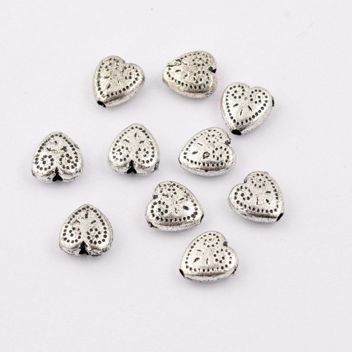 "Perle ""coeur"" en métal  - lot de 10 -"