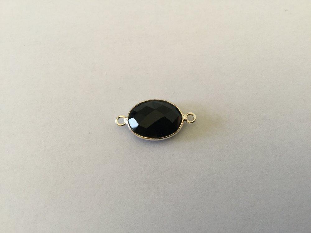 Connecteur Pierre facettée onyx noire & Argent 925