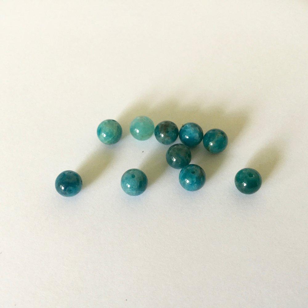 Apatite ronde de 6mm X10 perles
