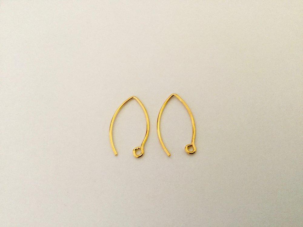 Crochets d'oreilles fils 19 mm en Argent 925 plaqué Or 24k