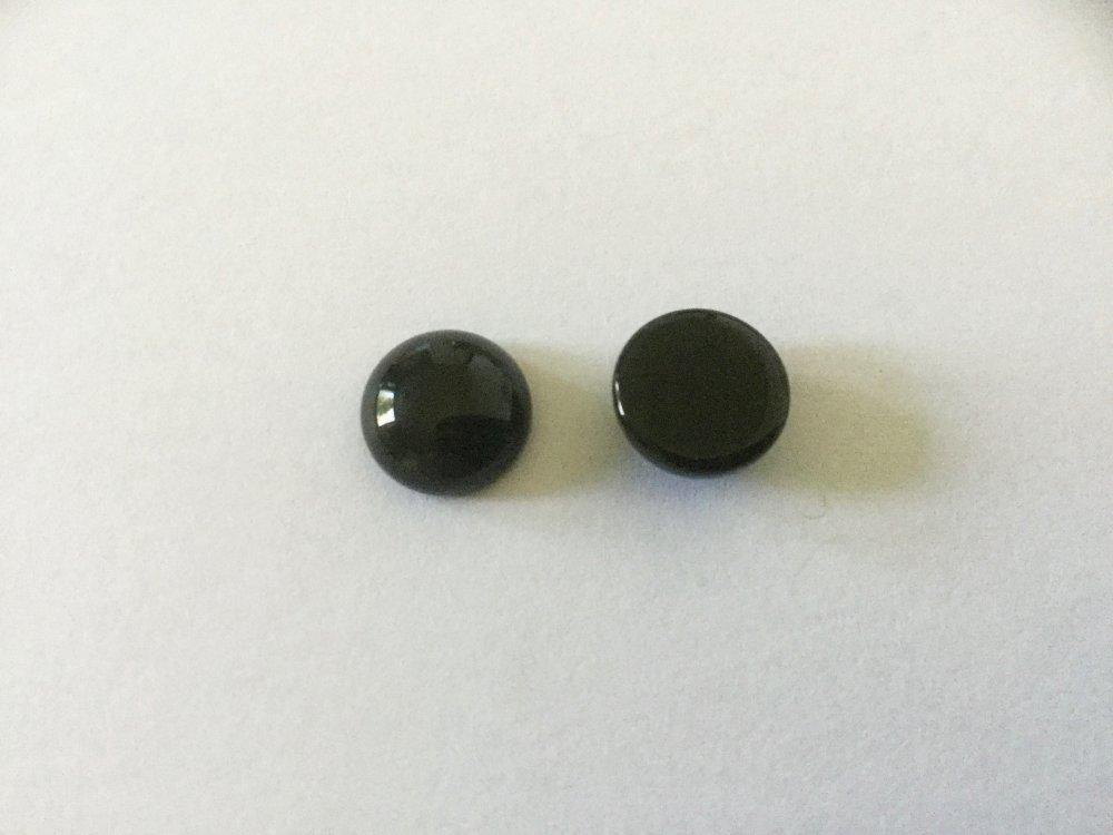 2 cabochons ronds 10mm Onyx noir