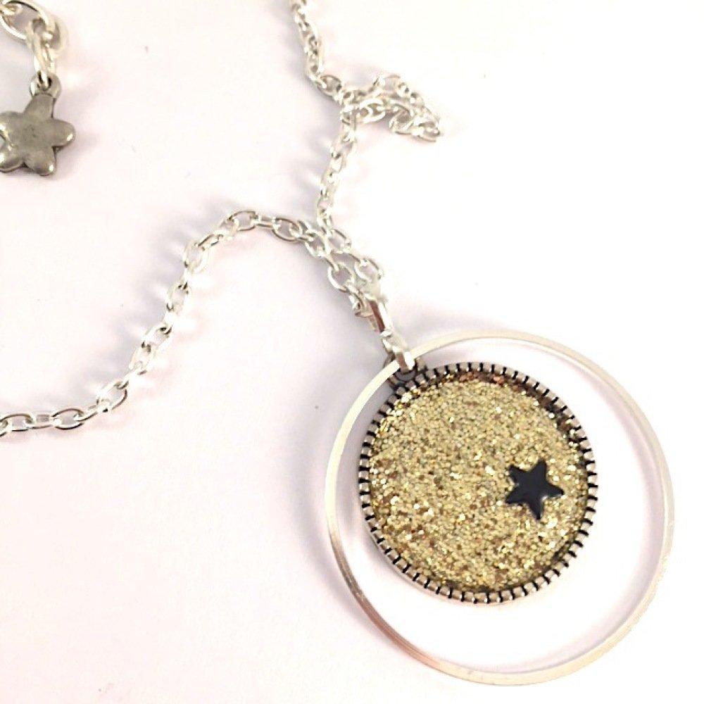 Collier spirale et paillettes cuivrées ou dorées
