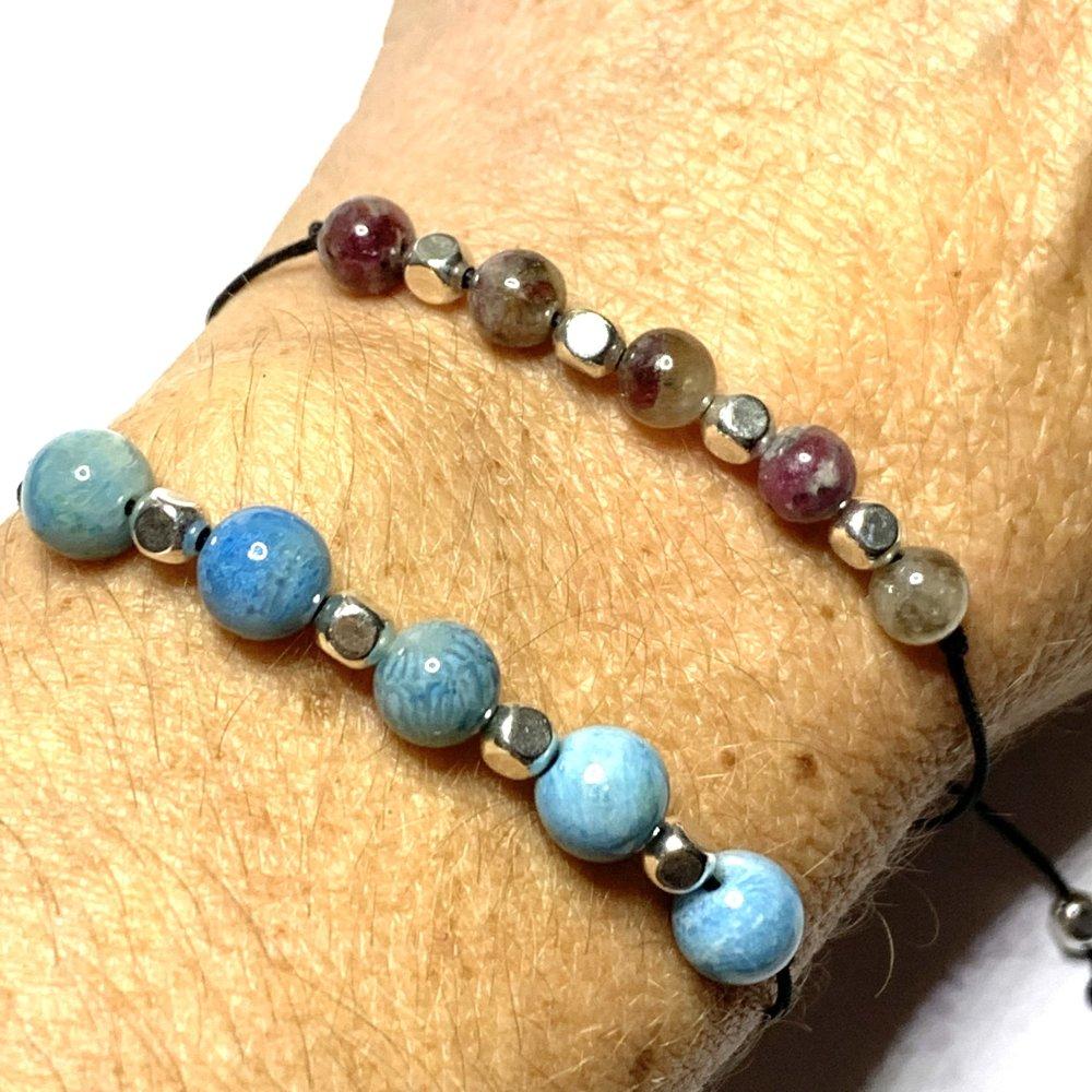 Bracelet réglable en Tourmaline ou Agate façon pierre