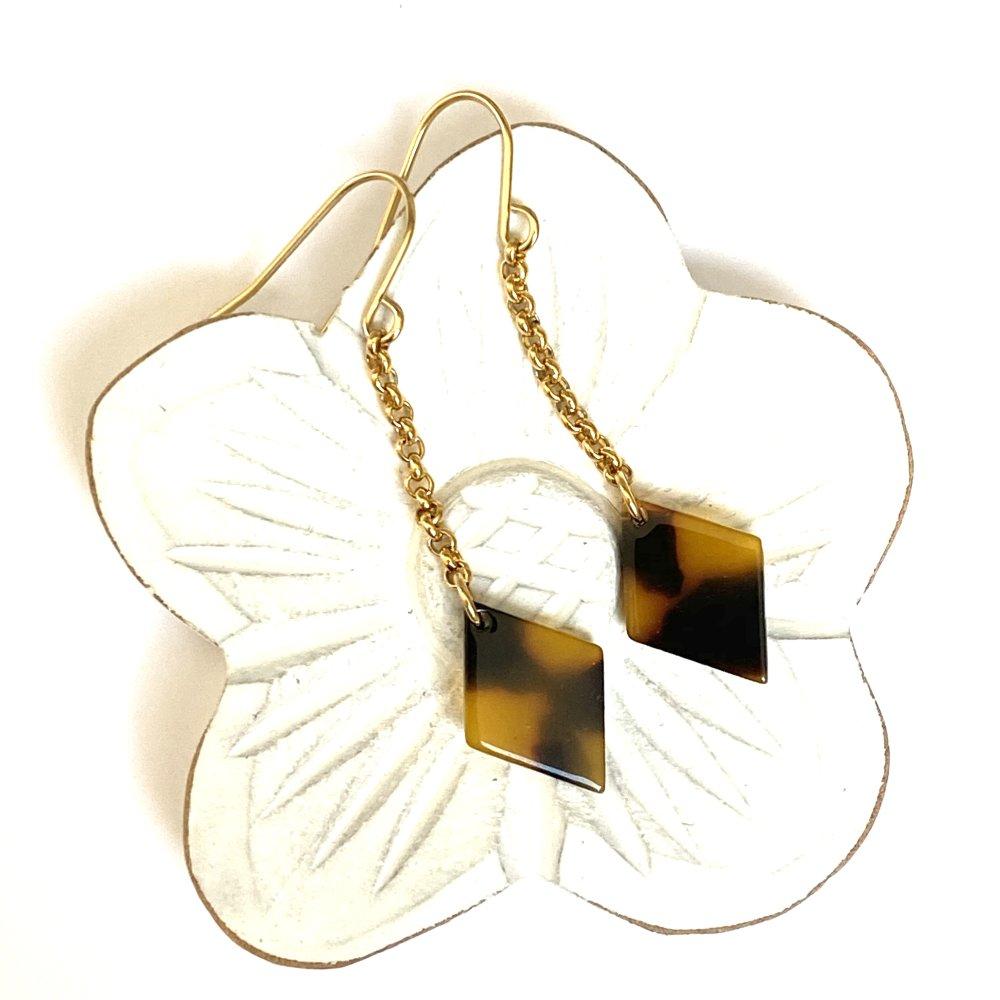 Boucles losange pendant