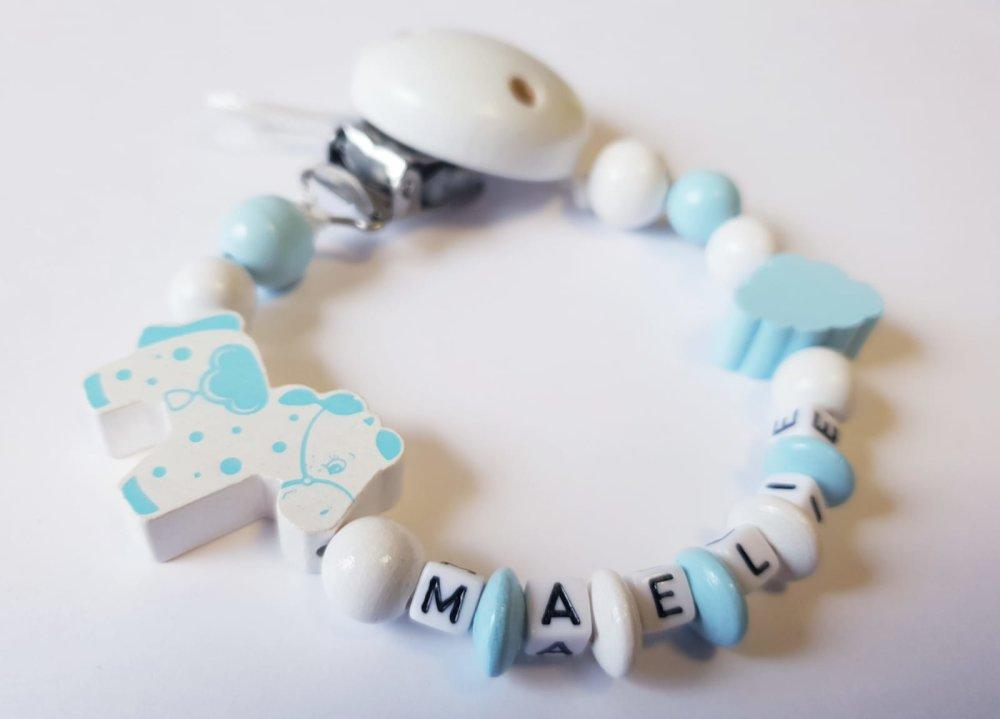 Attache tétine personnalisée - Perles en bois - Modèle MAELIE cheval/ponney bleu et blanc