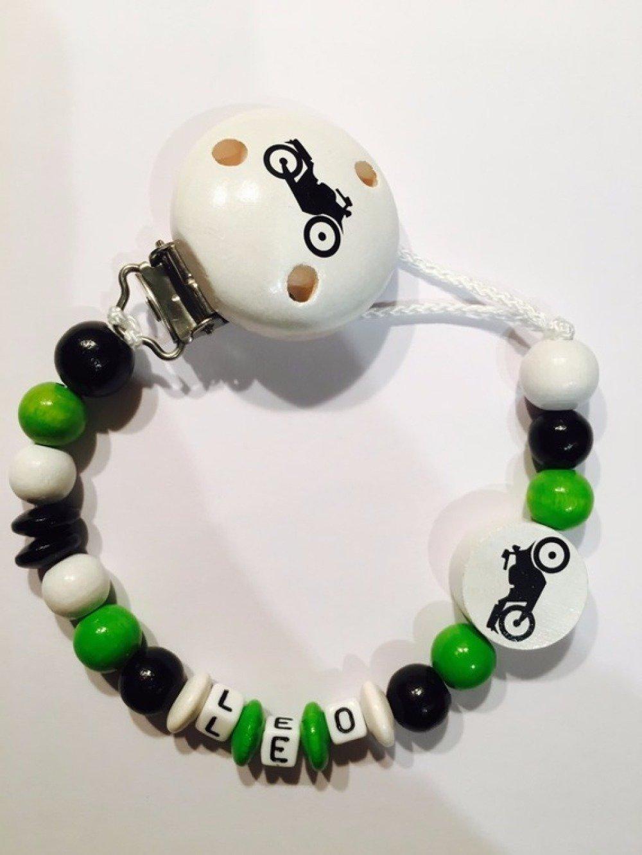 Attache tétine personnalisée - Perles en bois - Modèle LEO moto