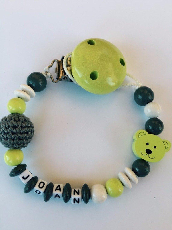 Attache tétine personnalisée - Perles en bois - Modèle JOAN ourson vert & gris