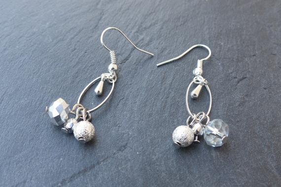 ♥ Boucles d'oreille métal argenté, ovale, goutte, perle facette et stardust ♥