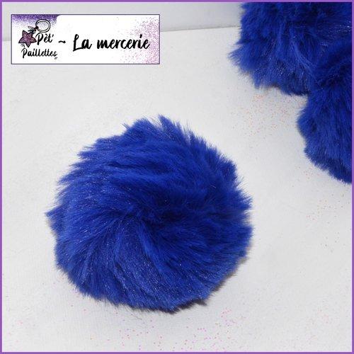 Pompon fourrure synthétique bleu nuit - taille 5.5/7cm - vendu à l'unité