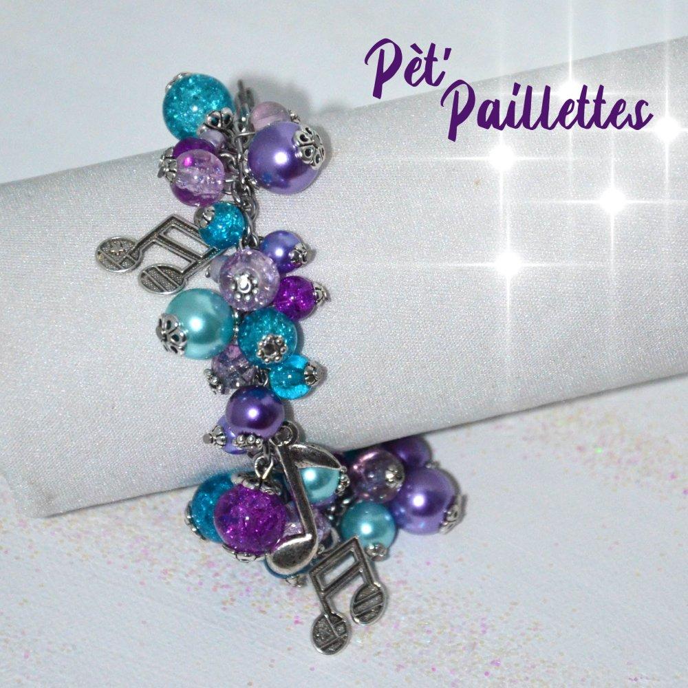 Bracelet en perles de verre, scintillant et coloré, thème musique