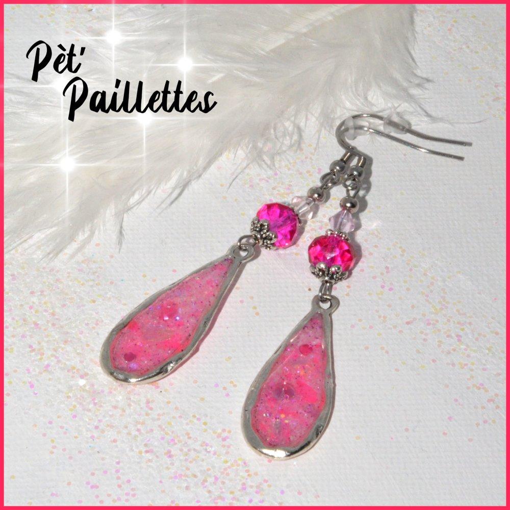 """Boucles d'oreilles """"Sois pétillante"""" perles de verre tons roses"""