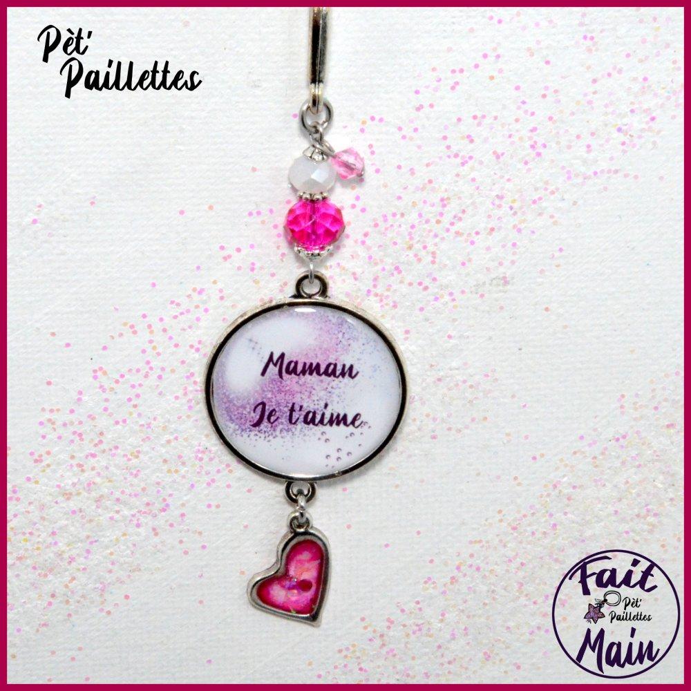 """Marque page plume """"Maman je t'aime"""" perles de verre et coeur de résine"""