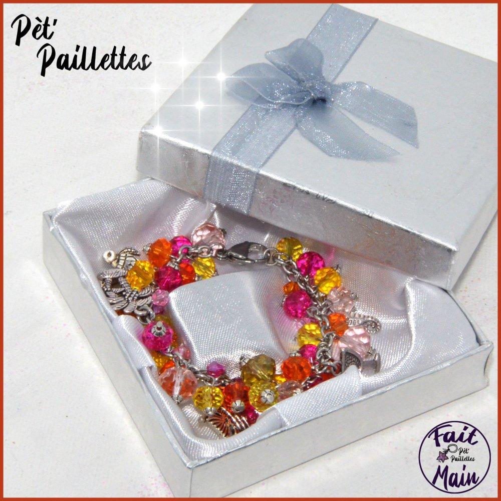 """Bracelet femme en perles de verre, invitation au voyage """"Tropcial punch"""""""
