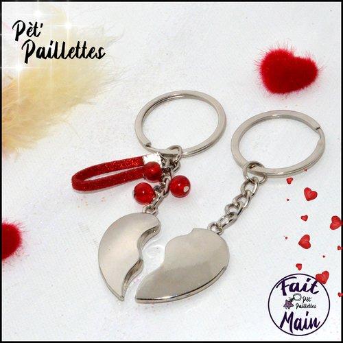 Duo de portes clés coeur à partager - tons rouges passion