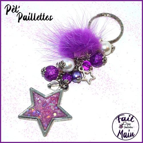 Porte clés unique, étoile décoré main, pompon fourrure et perles de verre - tons violets