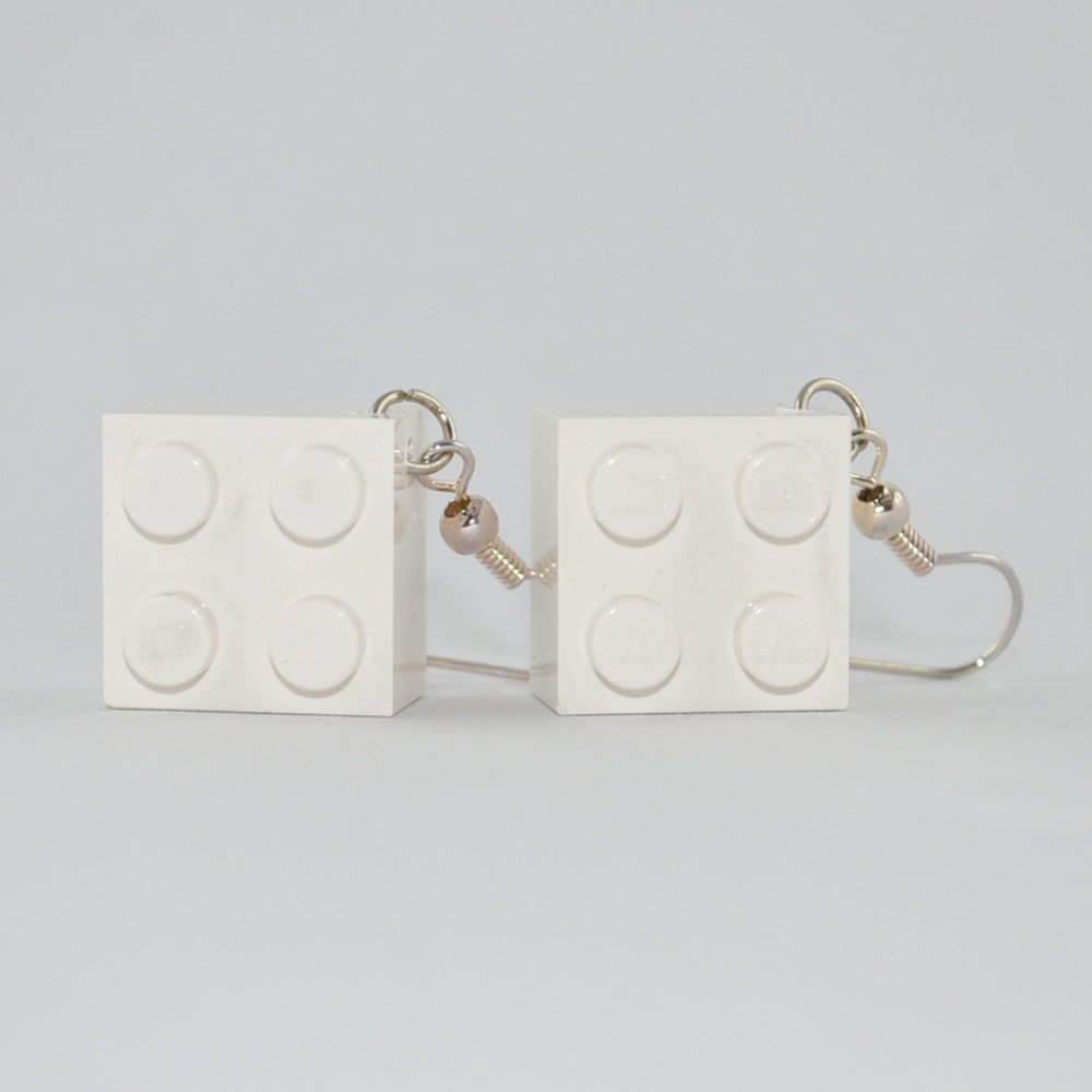 Boucles d'Oreilles Brique Lego Blanche