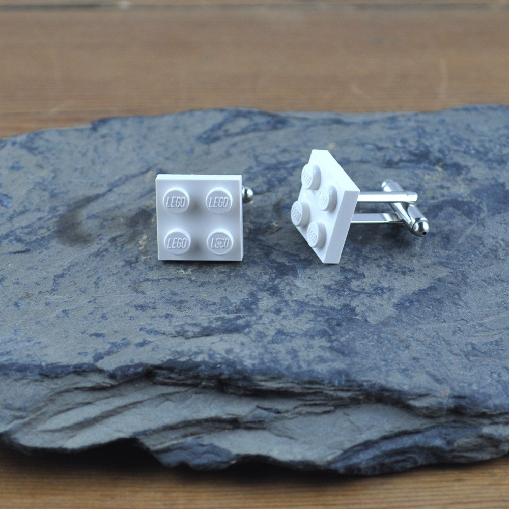Paire de Boutons de Manchette Brique Lego Blanc