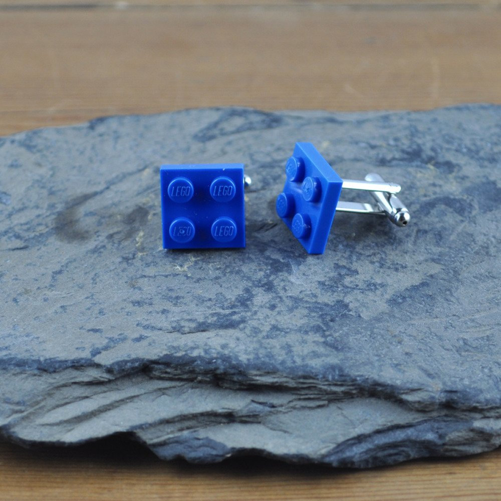 Paire de Boutons de Manchette Brique Lego Bleu Foncé