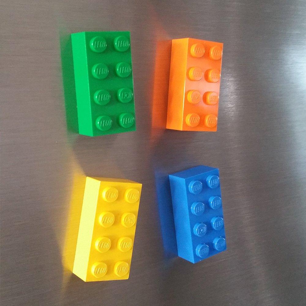 Lot de 4 magnets Brique Lego Vert Bleu Jaune Orange