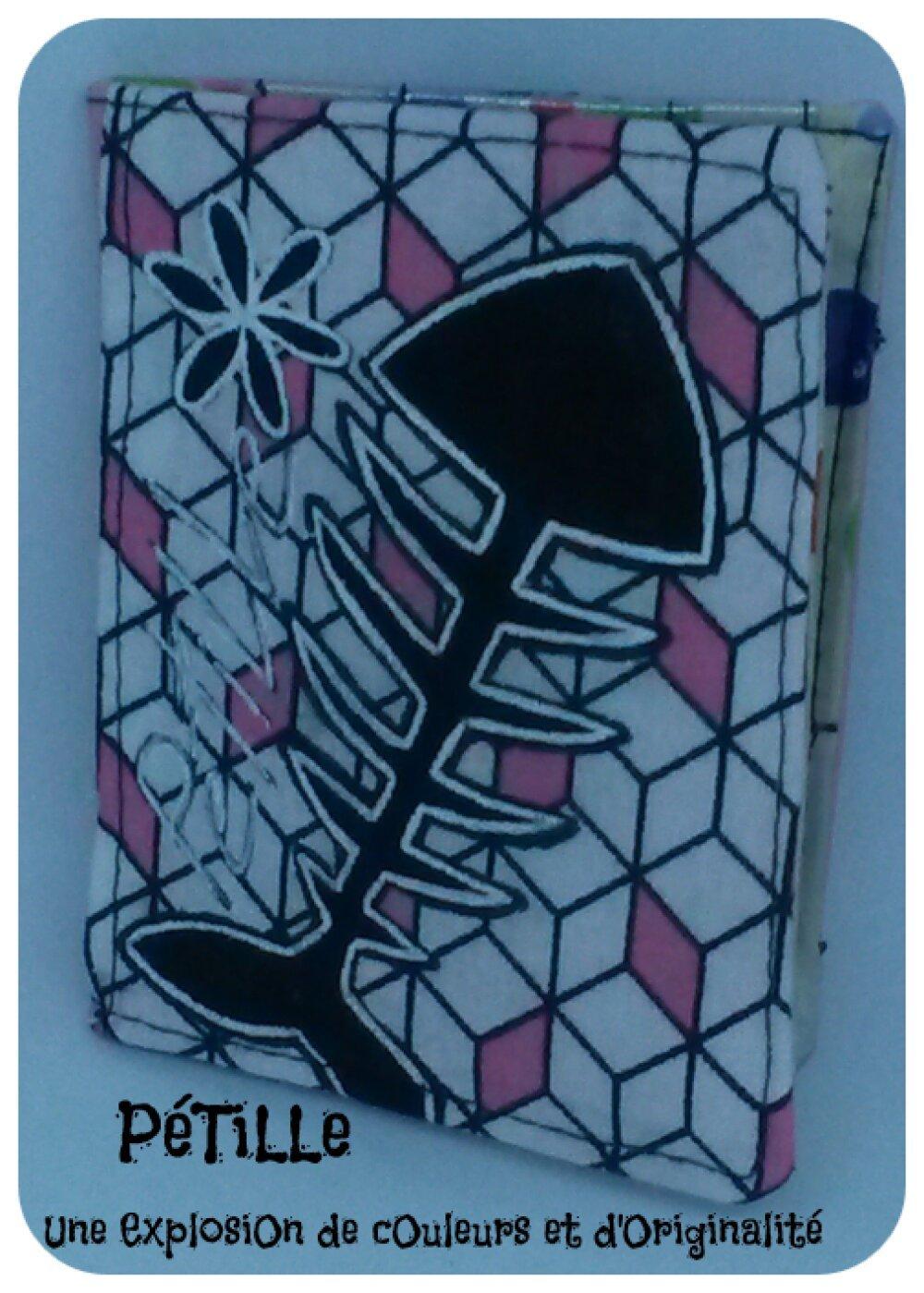 Porte-cartes rose squelette de poisson