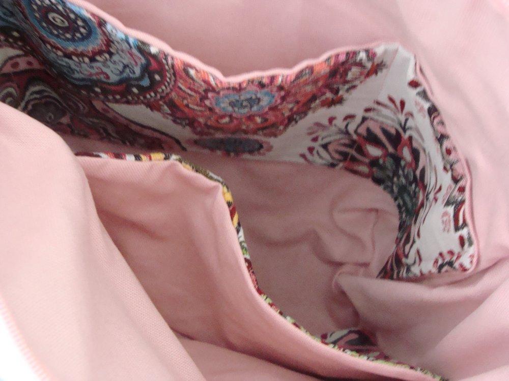 Sac cabas mandala zip multicolore tissu